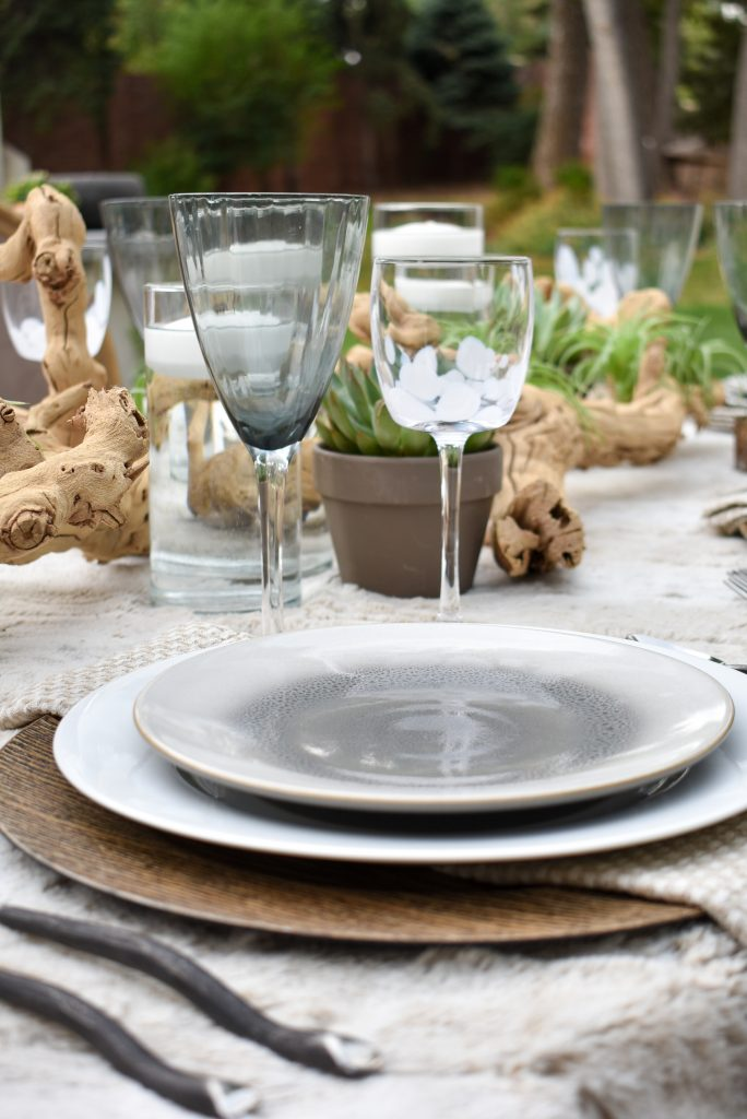 Tableware on a Neutral Fall Alfresco Dining Tablescape with neutral colors and succulents