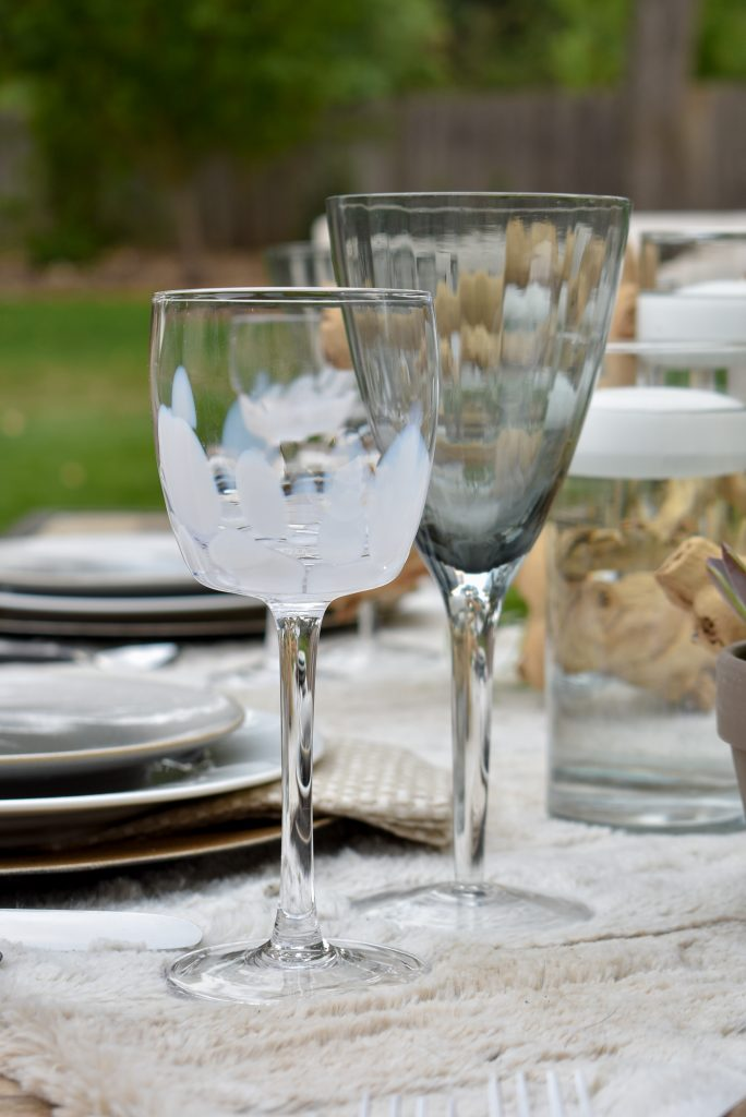 Glassware on a Neutral Fall Alfresco Dining Tablescape with neutral colors