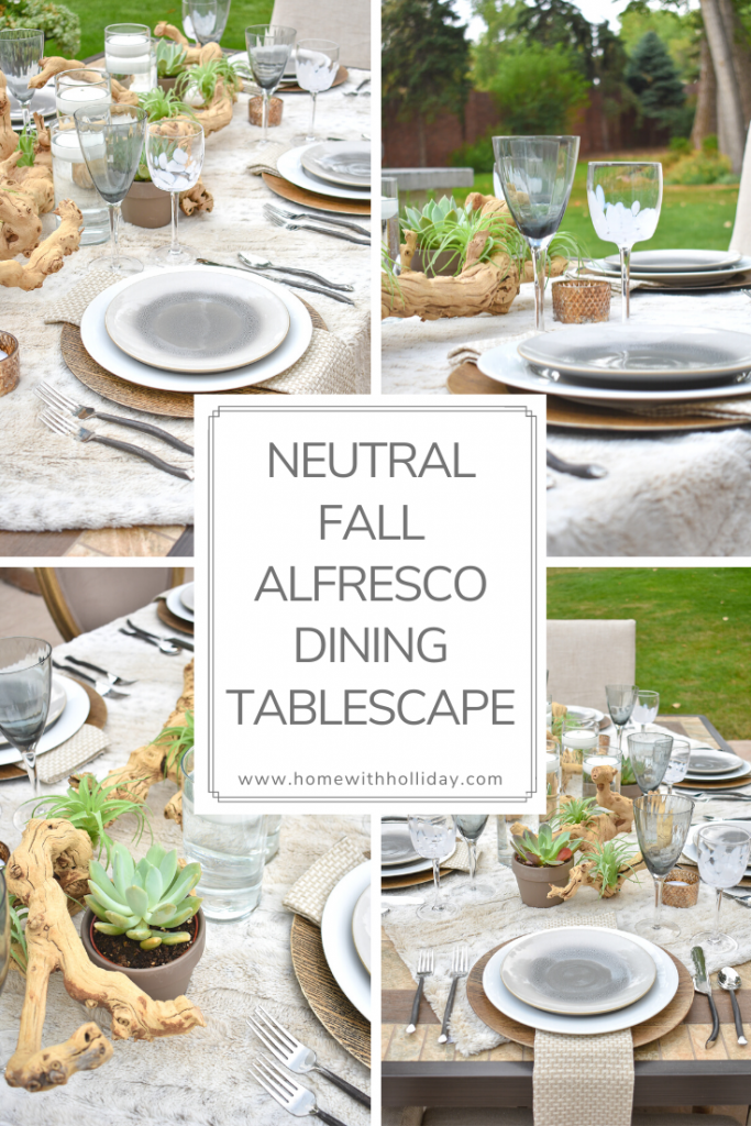Collage of a Neutral Fall Alfresco Dining Tablescape with Succulents