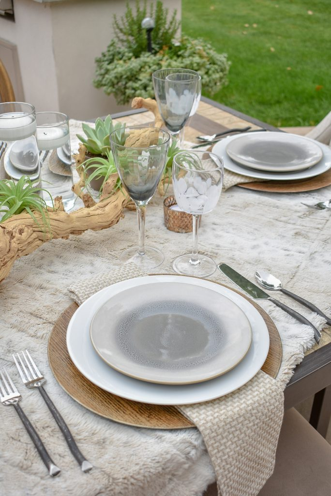 Place Setting on an Neutral Fall Alfresco Dining Tablescape with neutral colors and succulents