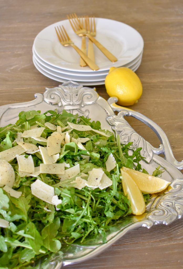 Arugula Salad with a Lemon Vinaigrette Salad on a Tray