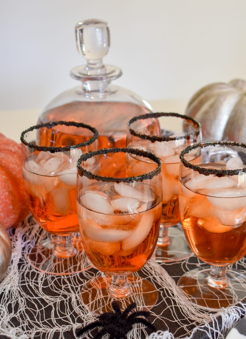 Blood Orange and Vodka Cocktail Recipe with a Halloween theme