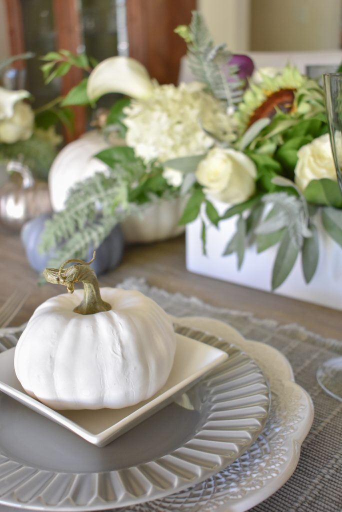 Pumpkins on a Fifty Shades of Grey and White Fall Tablescape