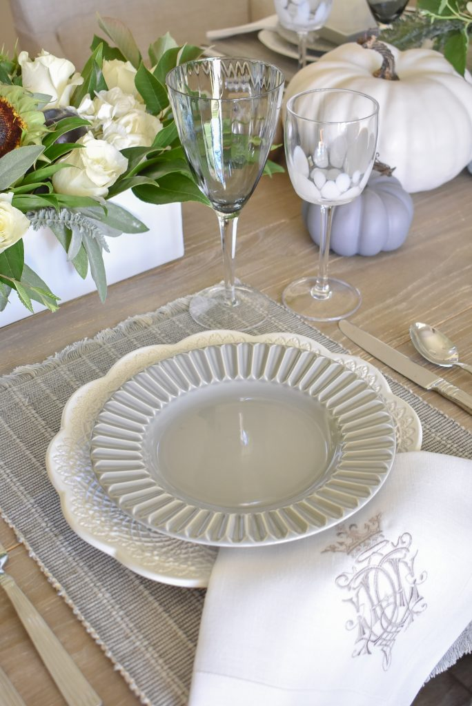 Grey and White plates on a Fifty Shades of Grey and White Fall Tablescape