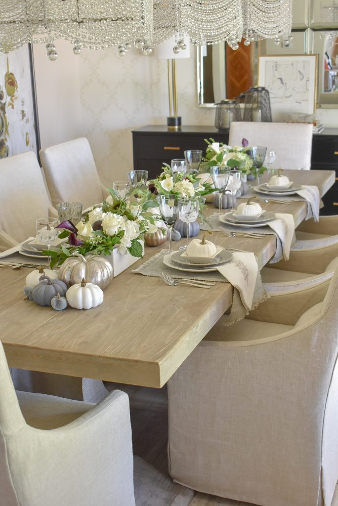 Large view of a Fifty Shades of Grey and White Fall Tablescape
