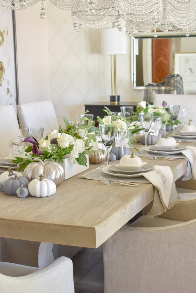 Full dining room view of a Fifty Shades of Grey and White Fall Tablescape