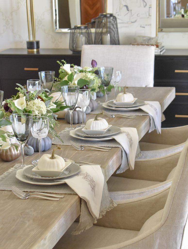 Linen napkins falling off the table on a Fifty Shades of Grey and White Fall Tablescape