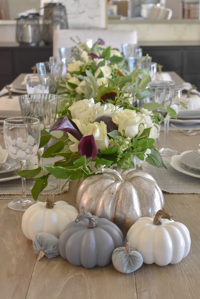 Fifty Shades of Grey and White Fall Tablescape Centerpiece with Pumpkins