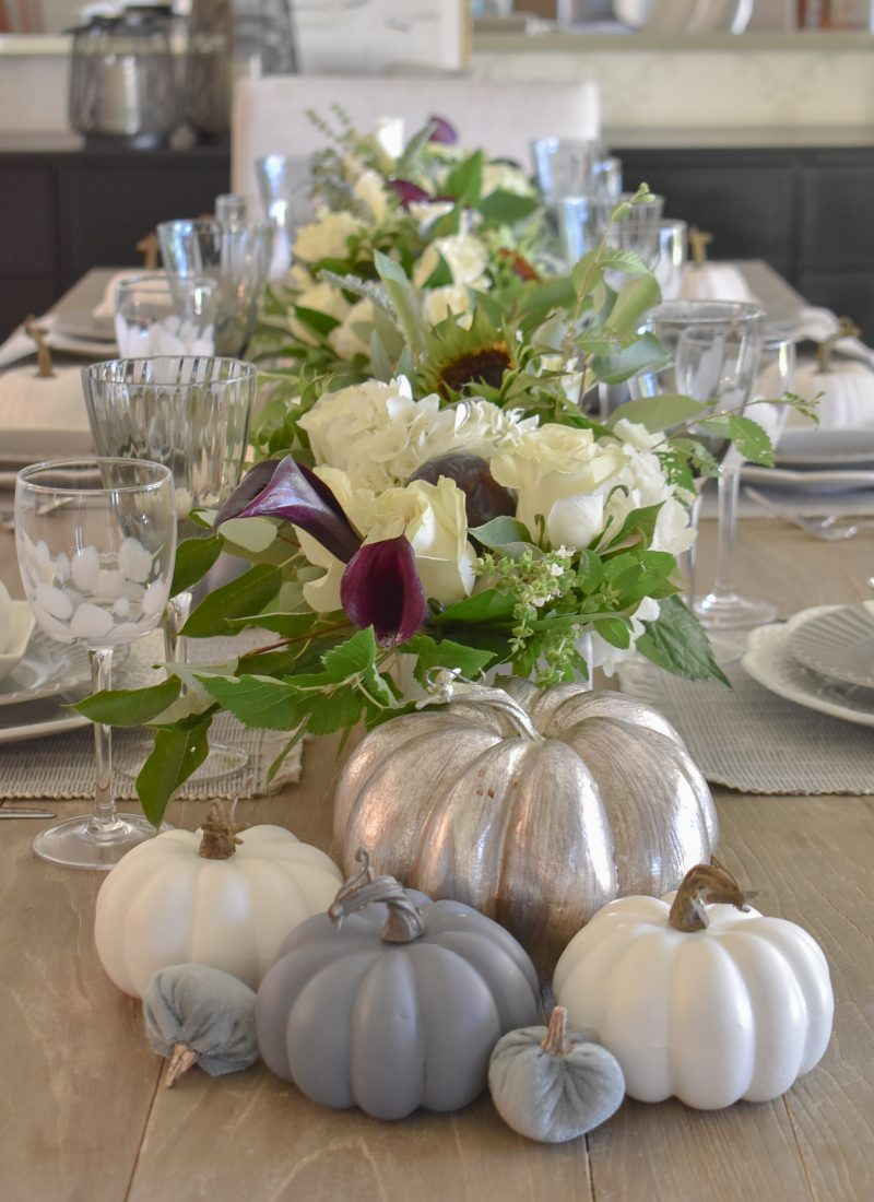 Fifty Shades of Grey and White Fall Tablescape