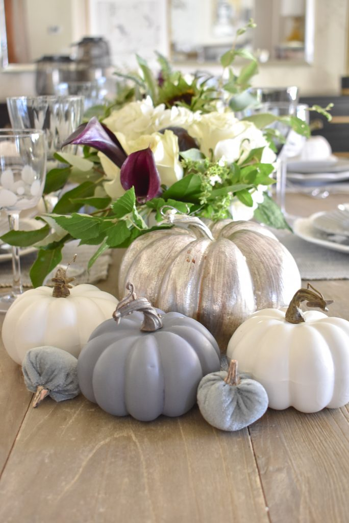 Grey and White Pumpkins on a Fifty Shades of Grey and White Fall Tablescape