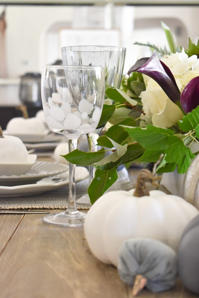 Glassware on a Fifty Shades of Grey and White Fall Tablescape