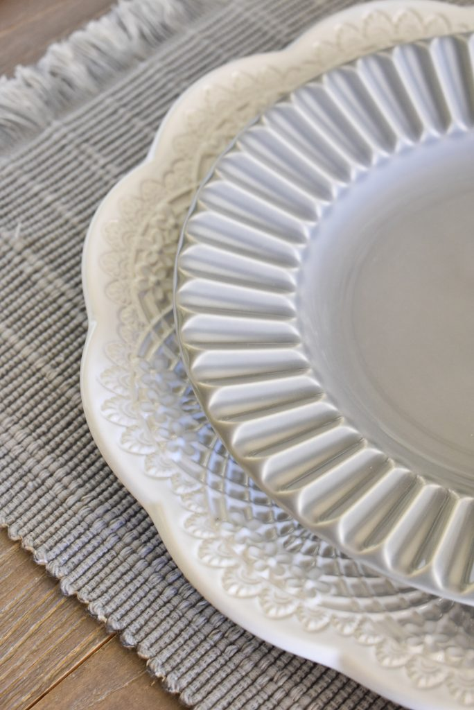 Grey and White dinner plates on a Fifty Shades of Grey and White Fall Tablescape