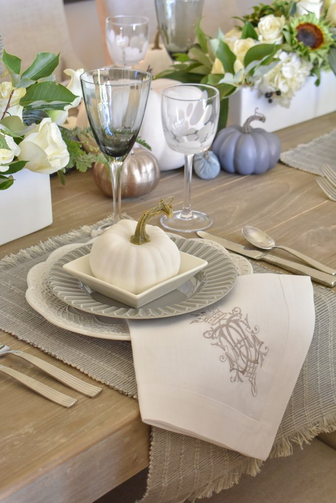 Linen napkins on a Fifty Shades of Grey and White Fall Tablescape