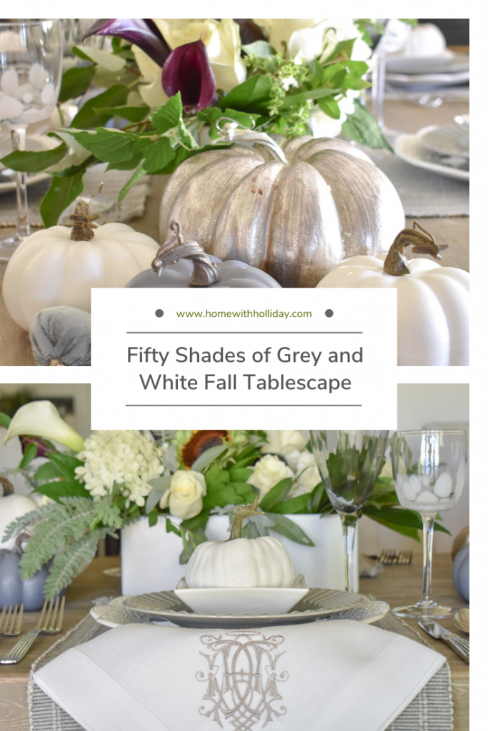 Vignette of a Fifty Shades of Grey and White Fall Tablescape