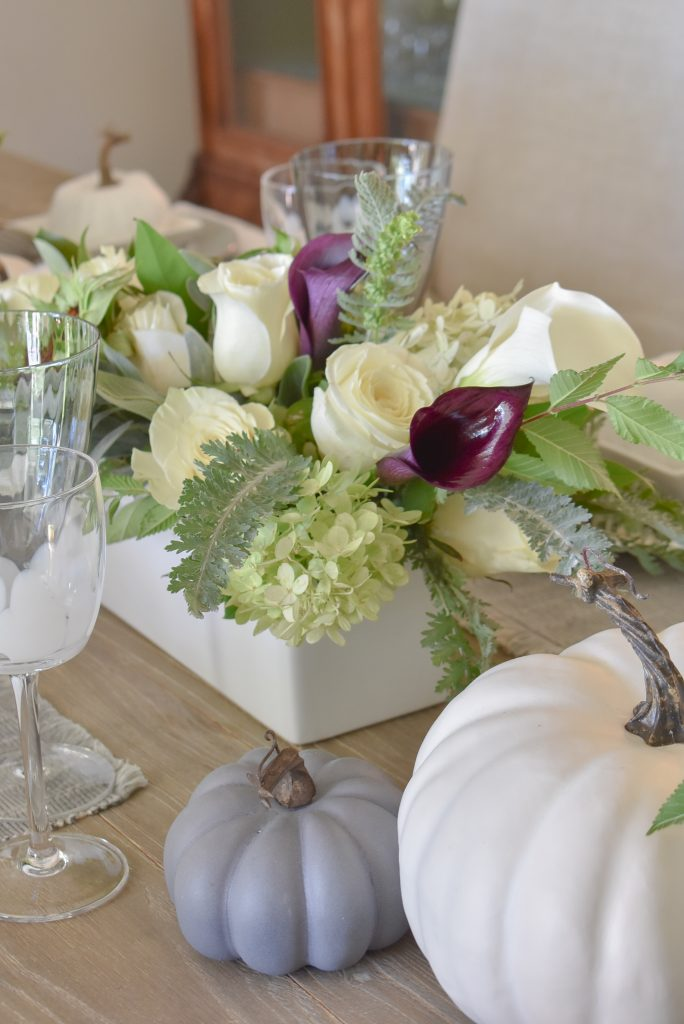 Flower arrangements on a Fifty Shades of Grey and White Fall Tablescape