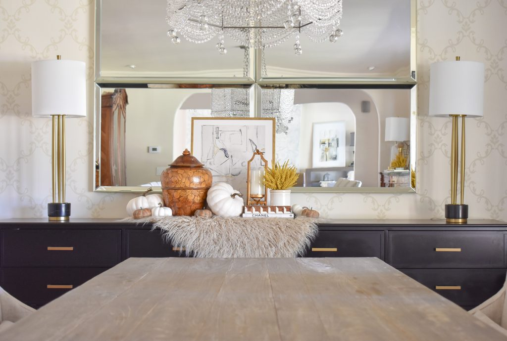 Simple Harvest Gold and White Fall Decor on a dining room buffet