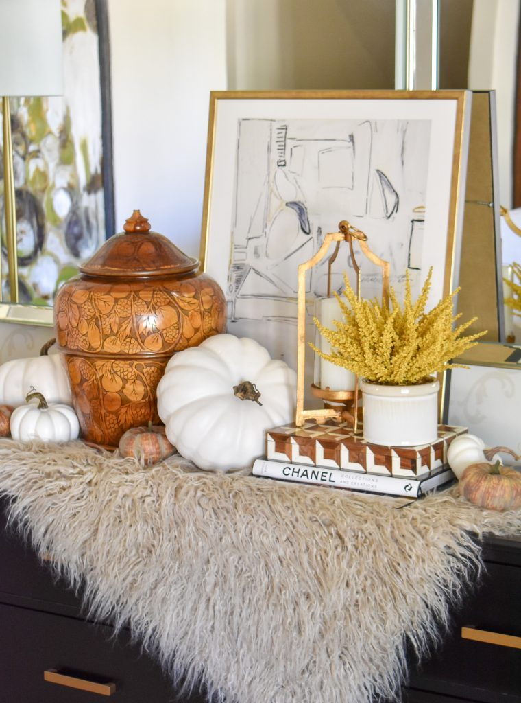 Simple Harvest Gold and White Fall Decor
