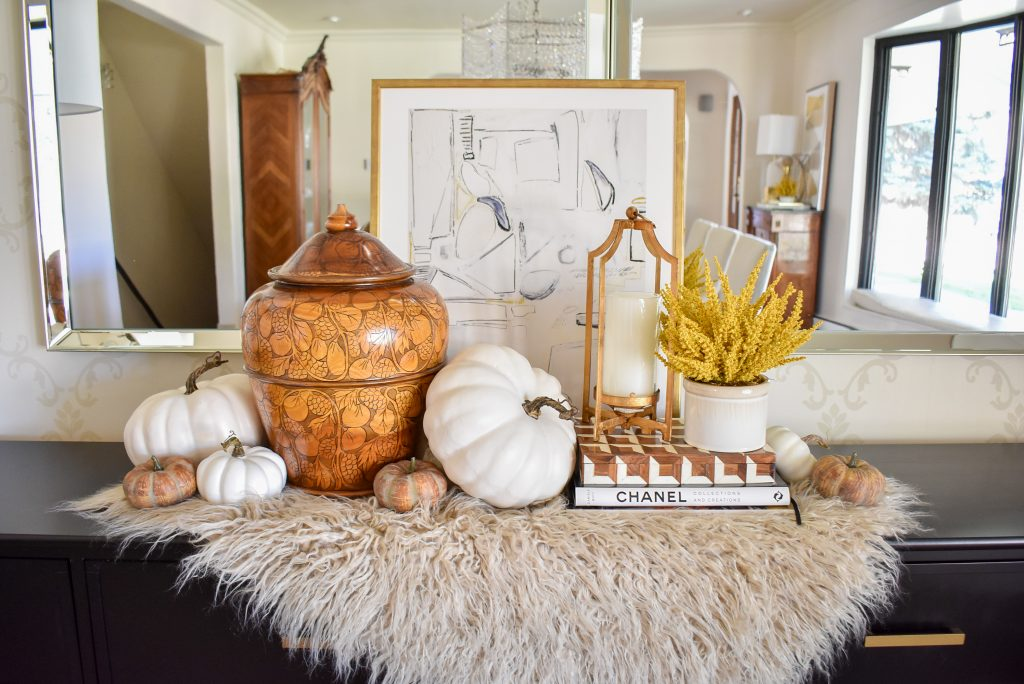 Simple Harvest Gold and White Fall Decor with a faux fur throw