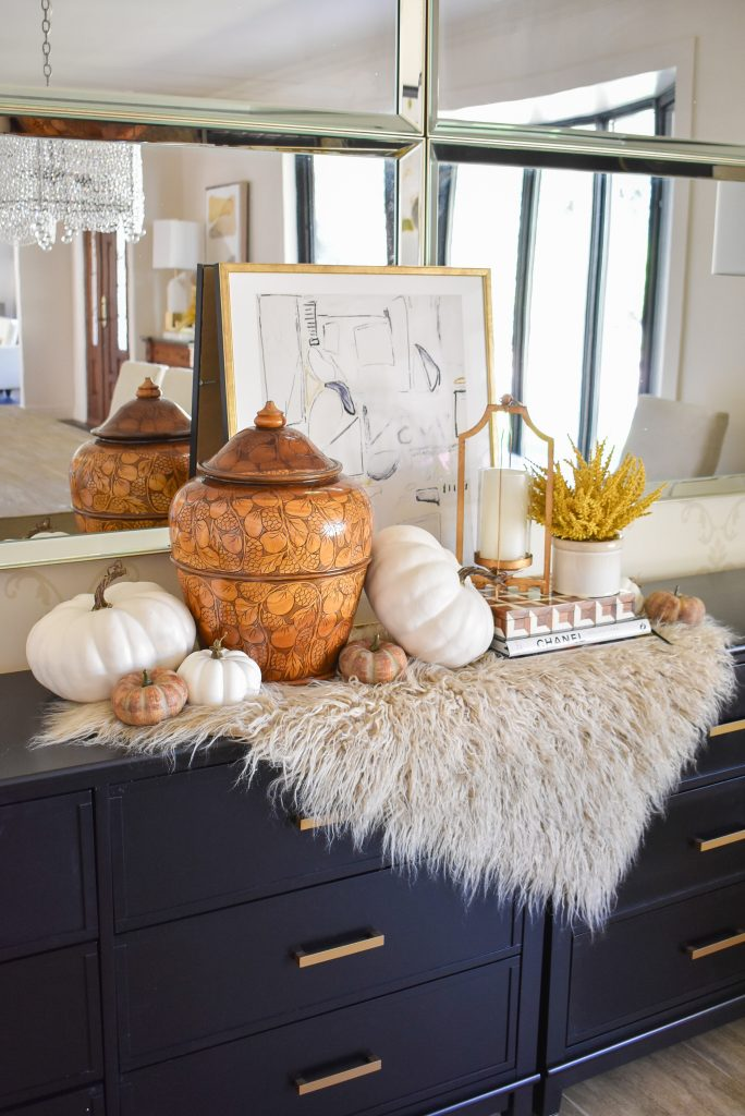 Simple Harvest Gold and White Fall Decor with faux fur throw