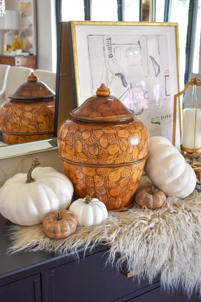 Simple Harvest Gold and White Fall Decor with hand-carved urn and pumpkins