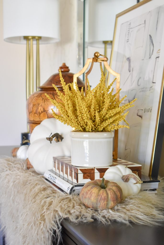 Simple Harvest Gold and White Fall Decor with pumpkins