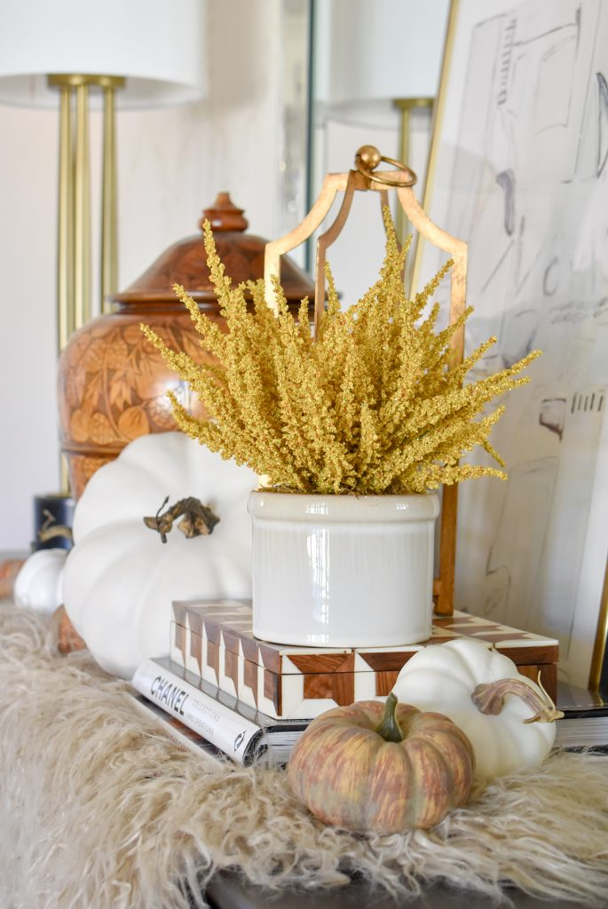 Simple Harvest Gold and White Fall Decor with gold accents