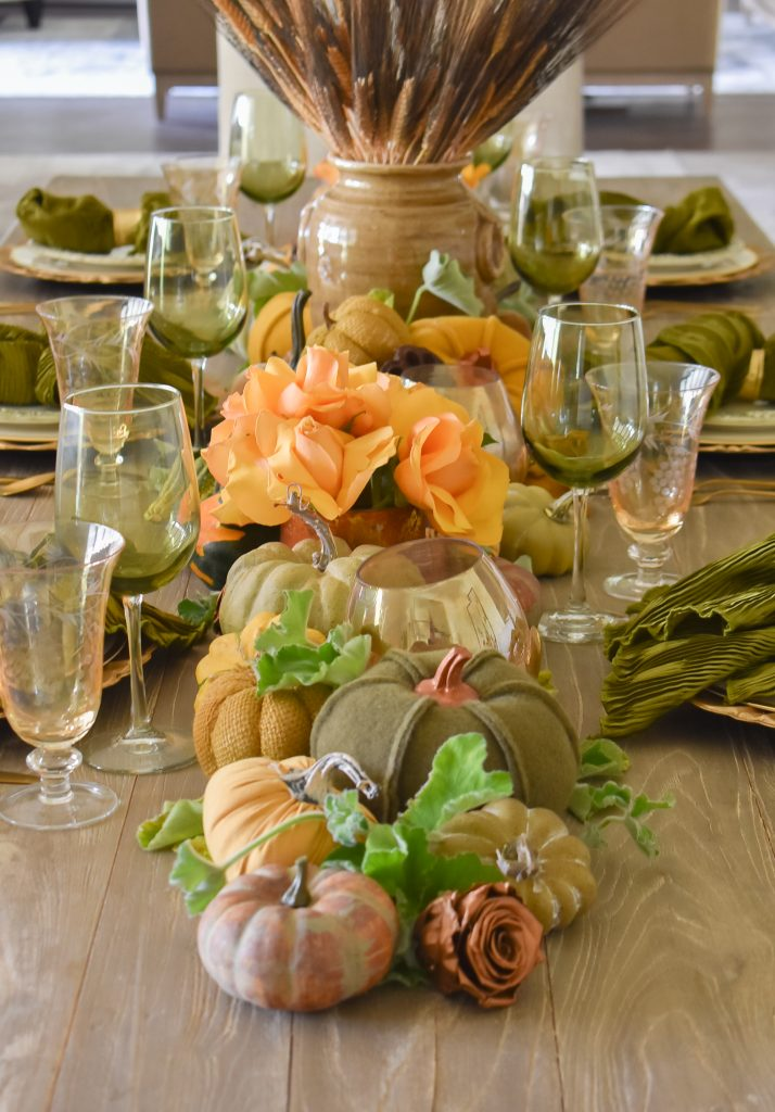 Centerpiece on an Olive Green and Gold Fall Tablescape with Pumpkins