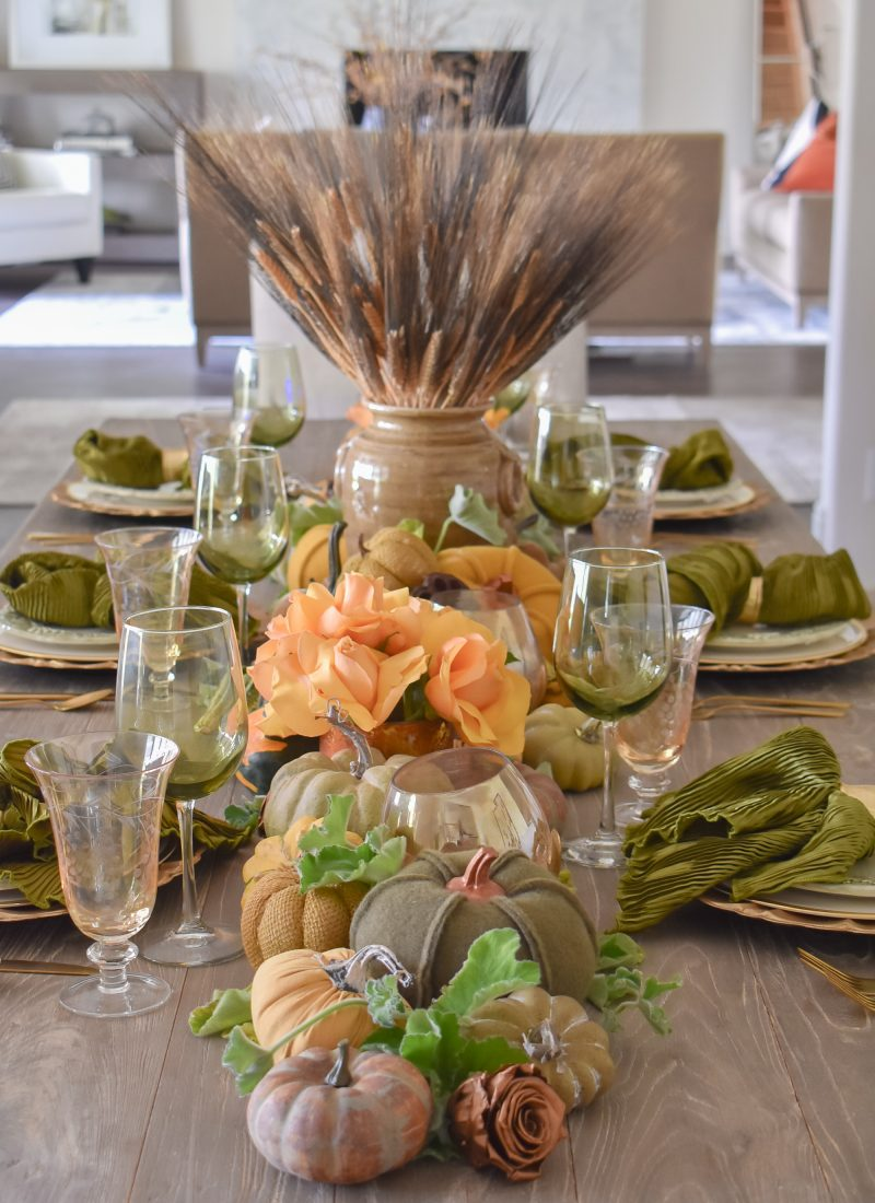 Olive Green and Gold Fall Tablescape with Pumpkins