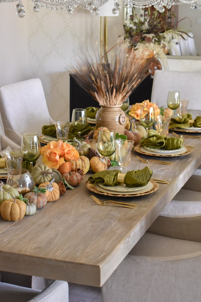 Olive Green and Gold Fall Tablescape with Pumpkins, wheat, and roses