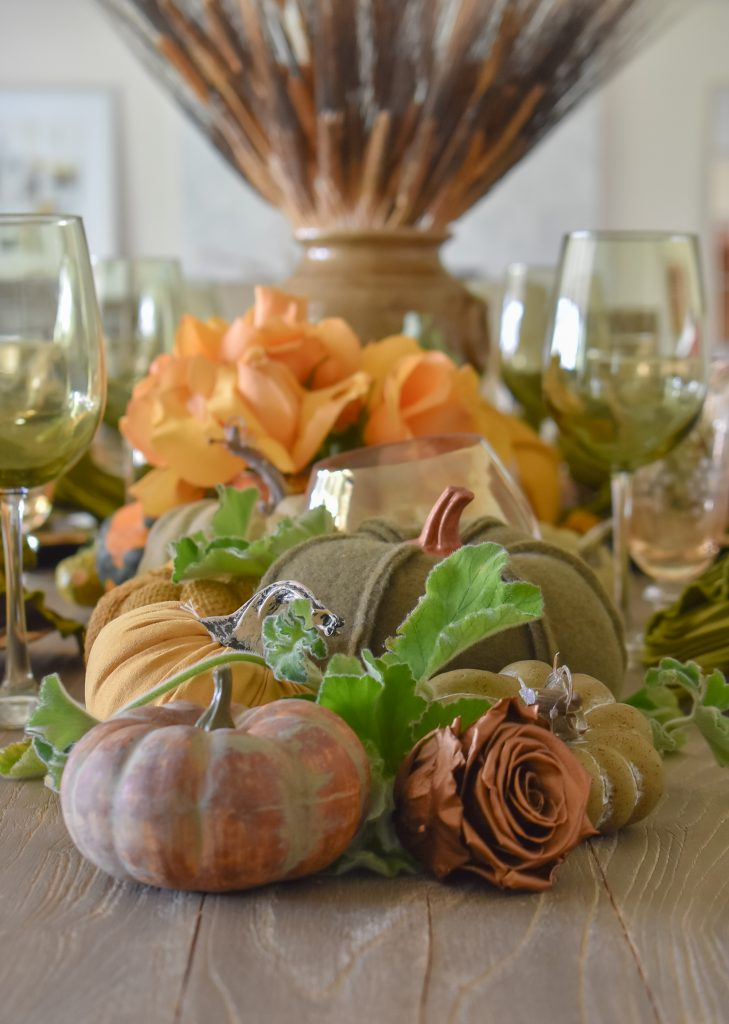 Olive Green and Gold Fall Tablescape with Pumpkins and Roses