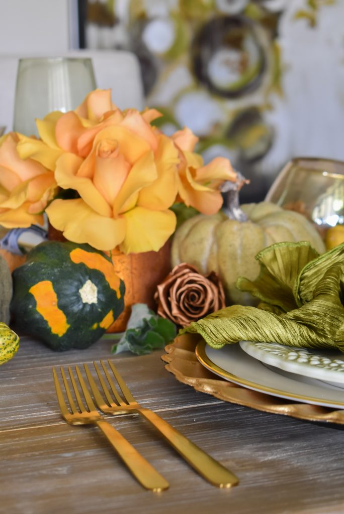 Olive Green and Gold Fall Tablescape close-up with roses and pumpkins
