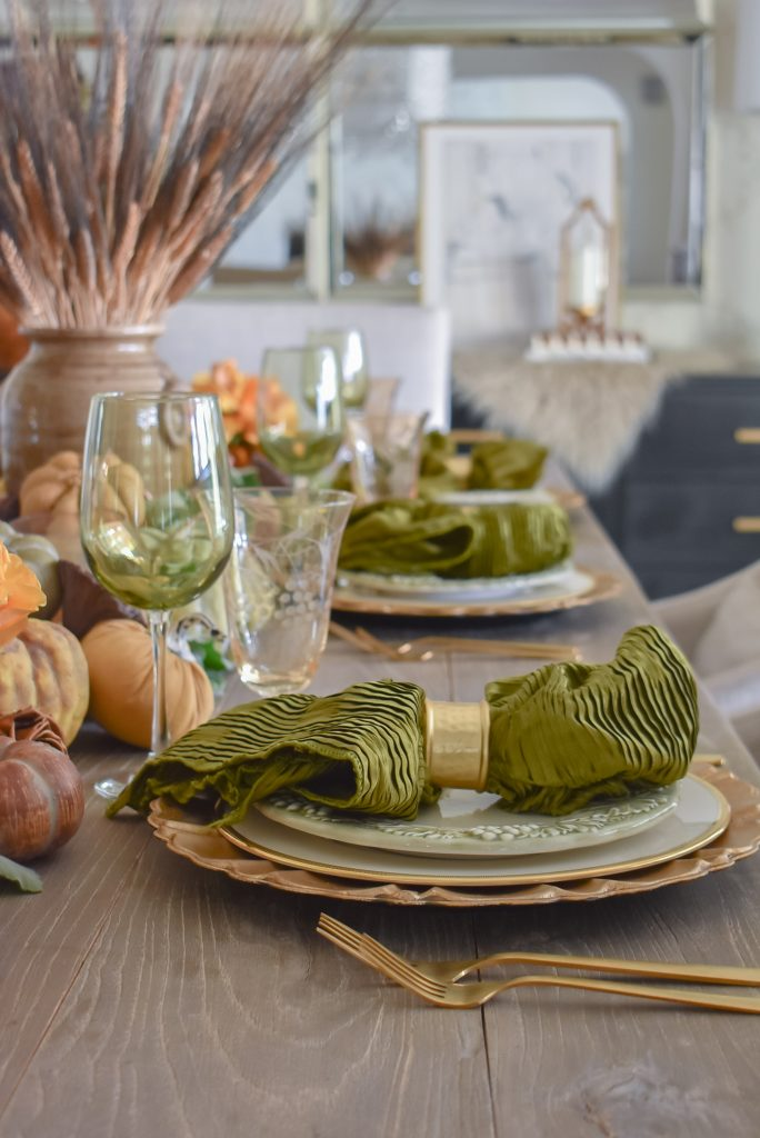 Olive Green and Gold Fall Tablescape Place Settings with olive green napkins