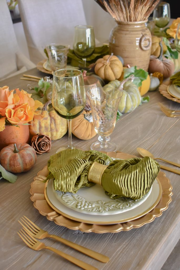 Olive Green and Gold Fall Tablescape Place Setting with olive green napkins