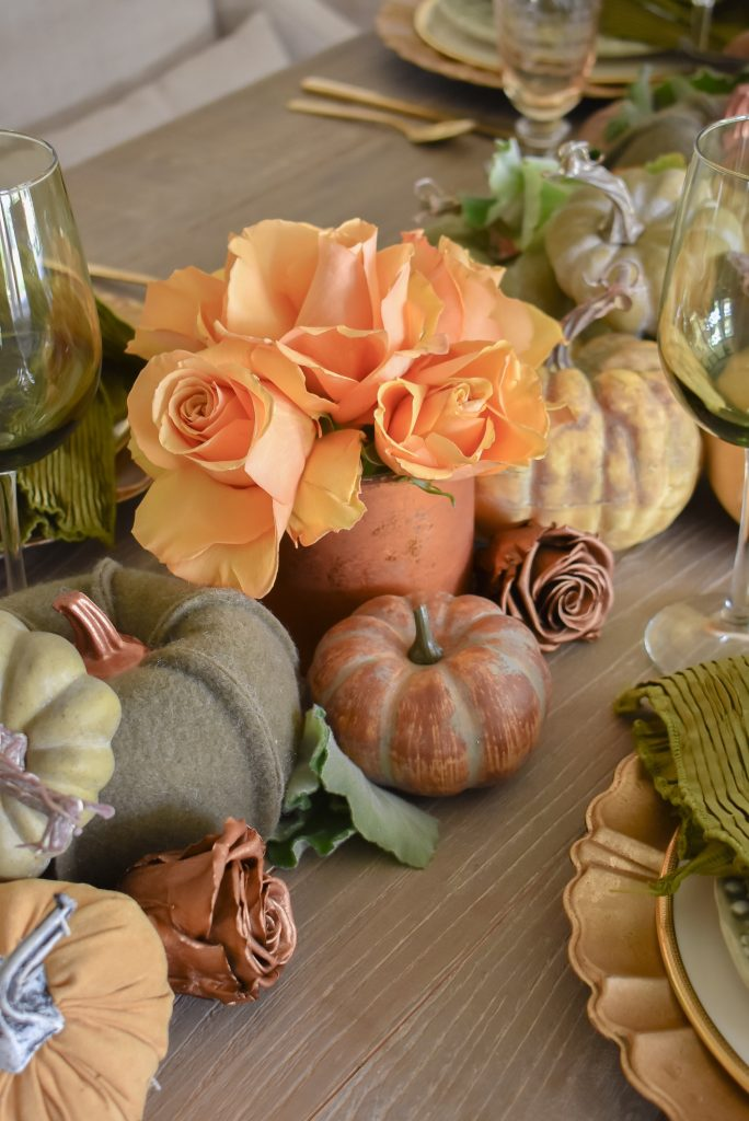 Roses on an Olive Green and Gold Fall Tablescape with Pumpkins