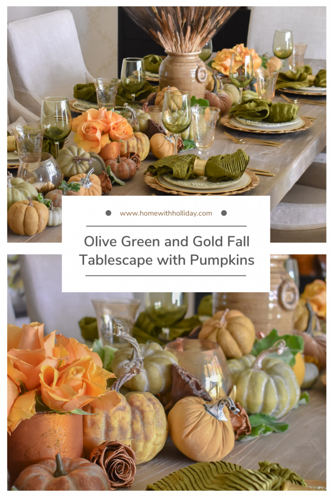 Collage of Olive Green and Gold Fall Tablescape with Pumpkins