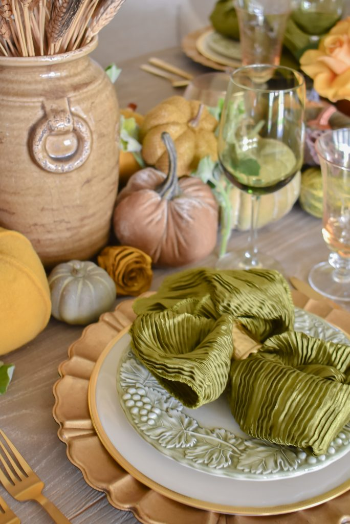 Olive Green and Gold Fall Tablescape with olive green napkins