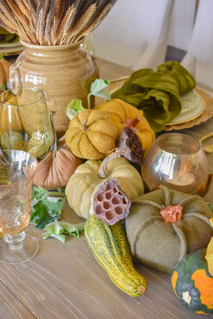 Olive Green and Gold Fall Tablescape with Pumpkins and more pumpkins