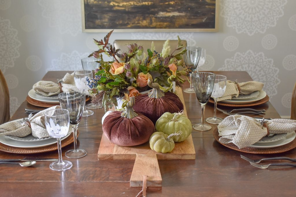 Rustic Fall Tablescape with Pumpkins on a wood tray
