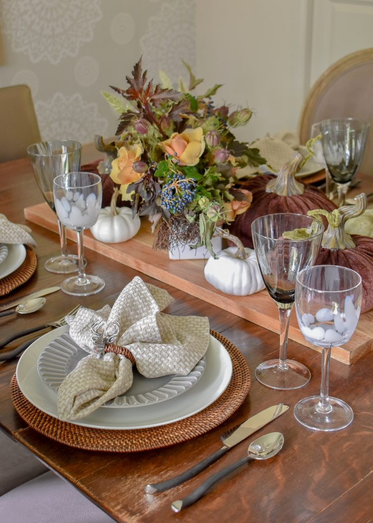 Place Settings on a Rustic Fall Tablescape with Pumpkins