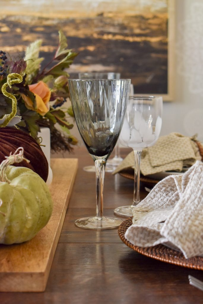 Glassware on a Rustic Fall Tablescape with Pumpkins