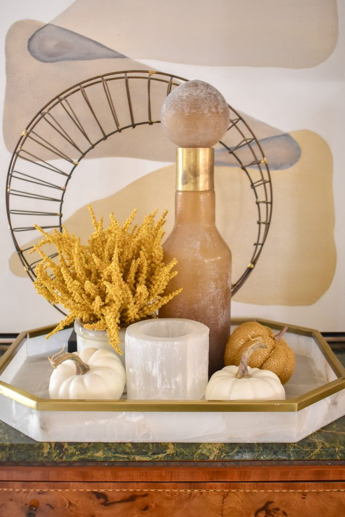 Simple Harvest Gold and White Fall Decor Vignette on a tray