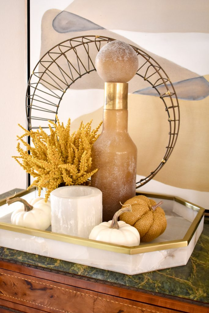 Simple Harvest Gold and White Fall Decor Vignette on an alabaster tray