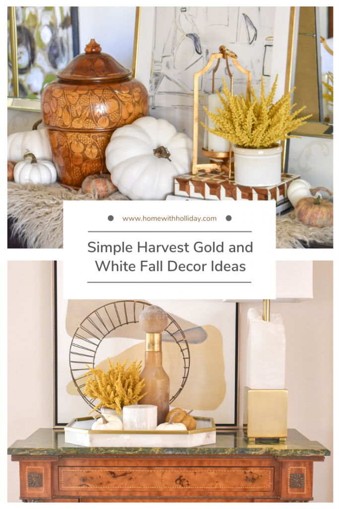 Simple Harvest Gold and White Fall Decor Ideas Collage