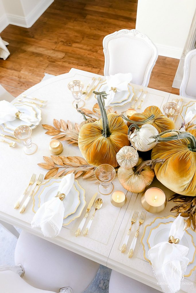 Harvest Gold and White Fall Tablescape