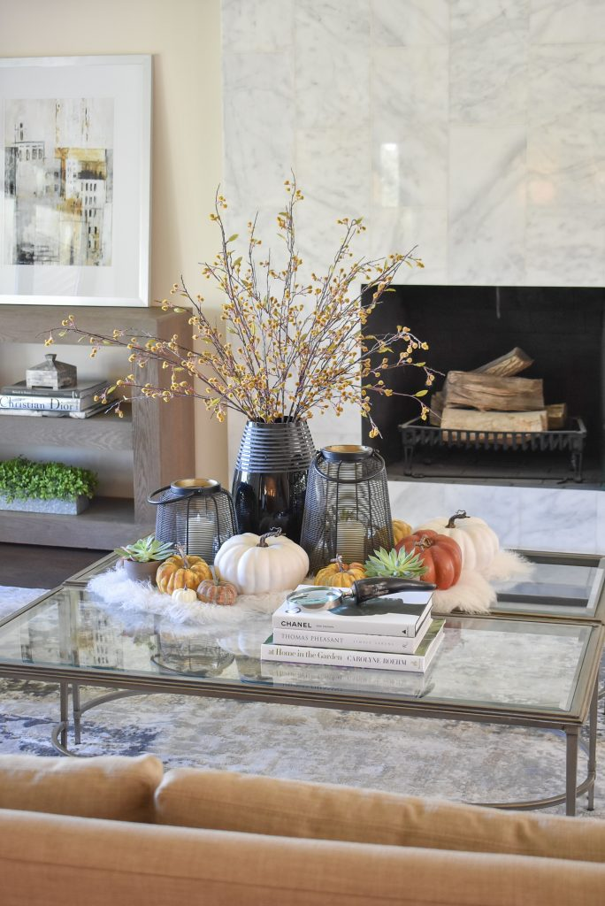 Warm and Cozy Coffee Table Styling for Fall with black accessories