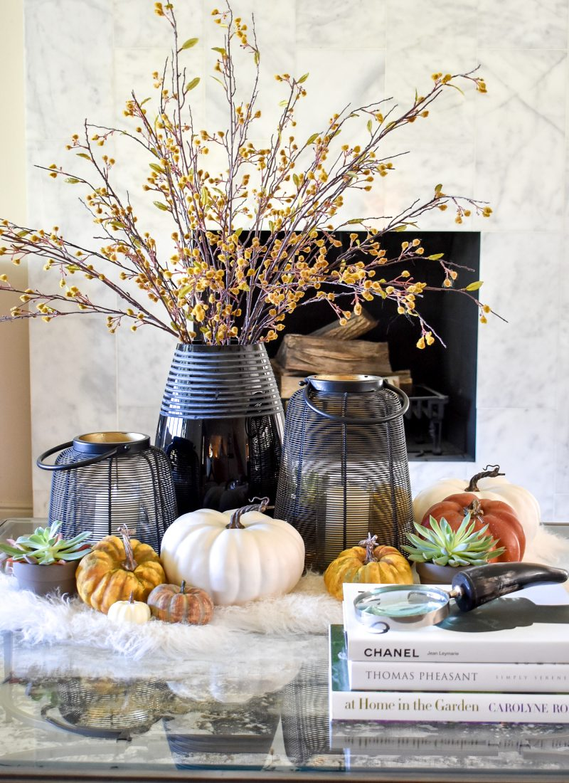 Warm and Cozy Coffee Table Styling for Fall with black accents