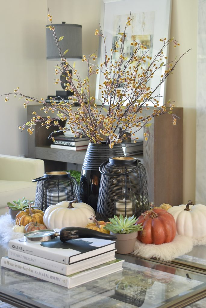 Warm and Cozy Coffee Table Styling with fall-themed accents
