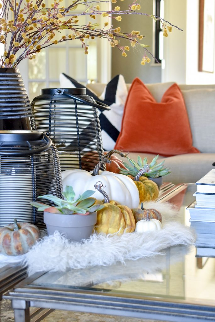 Pumpkin Themed Fall Styling on a coffee table