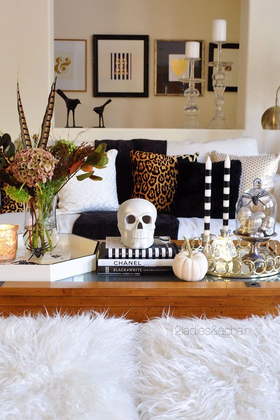 Warm and Cozy Coffee Table Styling for Fall or Halloween
