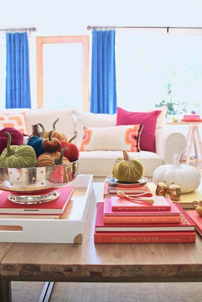 Fall coffee table styling with bright colors